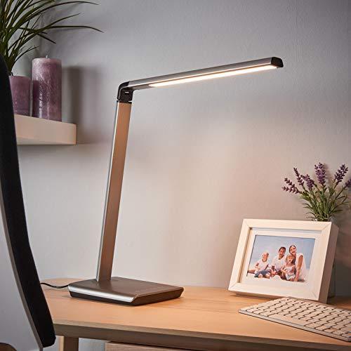 Lindby LED Tischlampe 'Kuno'mit USB Anschluss dimmbar (Modern) in Alu u.a. für Arbeitszimmer & Büro (1 flammig, A+, inkl. Leuchtmittel) - Tischleuchte, Schreibtischlampe