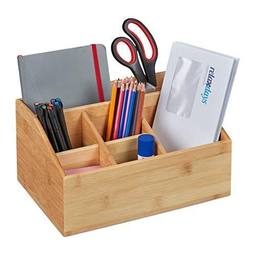 Relaxdays Schreibtisch Organizer, Bambus, 6 Fächer, Stiftehalter Büro und zuhause, Tischorganizer HBT 14x28x20 cm, Natur
