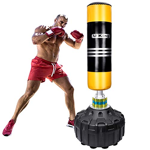U'King Boxsack Freistehender Standboxsack Boxpartner Boxing Trainer Heavy Duty Boxsack Set Stehend Boxsäule Tumbler (Yellow)