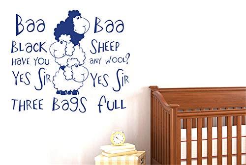 Wandaufkleber Schlafzimmer Kinderreim Baa Baa Schwarze Schafe haben Wolle Art Decals für Kinderzimmer Kinderzimmer für Jungen Zimmer für Mädchen Zimmer