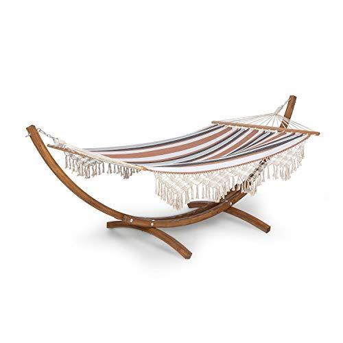 blumfeldt Bali Swing - Hamaca, Carga máxima 160 kg, Madera de alerce, Tejido Resistente de 320 g/m², 65% algodón, 35% de poliéster, Se Adapta a la Forma del Cuerpo, 200 x 150 cm, Borlas, Marrón