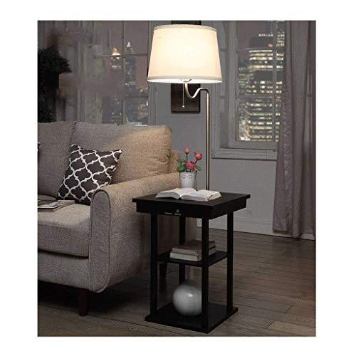 Lámpara de pie Lámpara de pie Vertica Lamps Light Lámpara de pie moderna, Creativa pestaña de madera para cabecera Estantes cuadrados y puertos de carga USB Luz de noche de pie para sala de estar