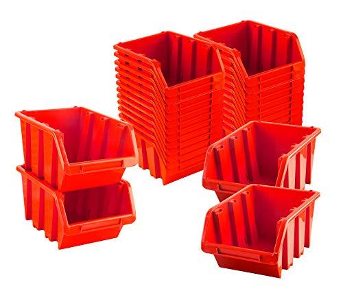 BigDean Sichtlagerboxen Set 28 Stück Rot Größe 3 19,5x12x9 cm - nestbar & stapelbar - Ordnungssystem für Werkstatt, Keller & Garage