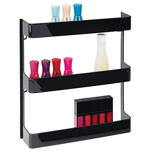 mDesign - Wandrek - badkamerschap/medicamentenorganizer - voor medische apparatuur, voedingssupplementen en vitamines - met 3 etages - gemaakt van stevig plastic - zwart