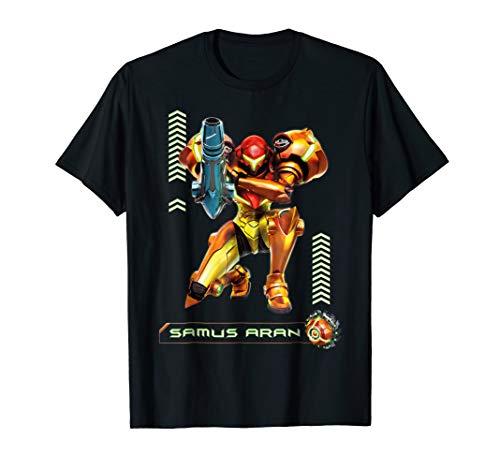 Metriod Samus Aran Kneel Blaster Detailed Graphic T-Shirt