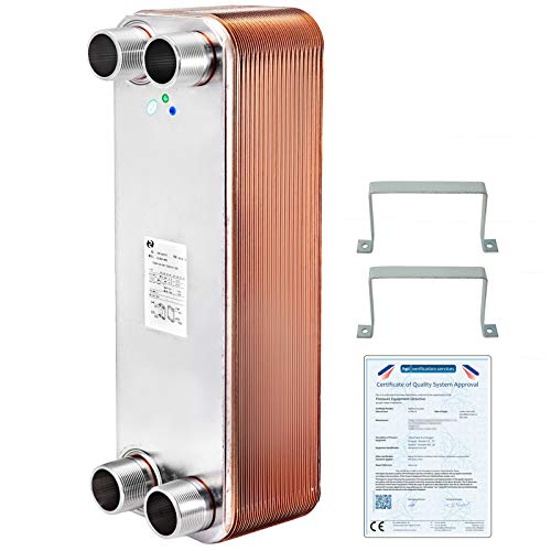 Heat Exchanger 3x7.5 20 Plates Brazed Plate Heat Exchanger 316L 1/2 and 3/4 MPT Heat Exchanger ZL95B-40D Beer Wort Chiller for Hydronic Heating
