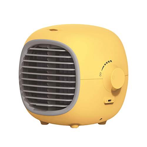 Fenteer Enfriador de Aire, Acondicionador de Aire de Enfriamiento Portátil USB, Enfriador de Espacio Personal Móvil, Humidificador, Purificador, Ventilad - Amarillo
