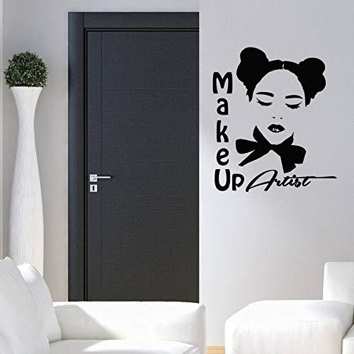 Wanghan Artista De Maquillaje Logo Etiqueta De La Pared Estilo De Moda Salón De Belleza Decoración Vinilo Removible Arte De La Pared Tatuajes De Arte De Vinilo Maquillaje 57X67