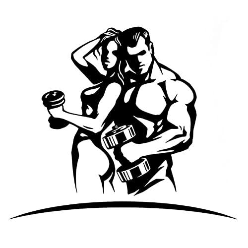 WYZDGTD Etiqueta Engomada del Coche Mancuernas De Moda Deportes Fitness Silueta Decoración Calcomanía Vinilo Etiqueta Engomada del Coche 2 Uds 14.9 Cm X 12.6 Cm