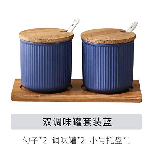 Keramische Specerijen Jar Huishoudelijke Kruiden Doos Houten Lade Kruidkruik Sojasaus Pot Zout Suiker Enkel Kan Keuken Kruiden Gereedschap, 2 stuks