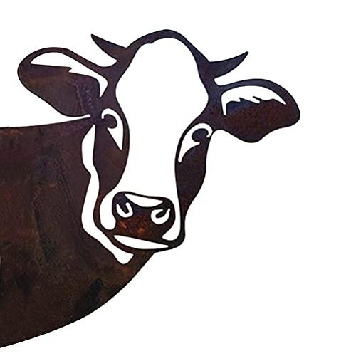 BTOSEP Decorazione da Parete con Mucca, Decorazione da Parete in Metallo con Mucca Resistente alle intemperie, Arte in Ferro battuto, Segno di Mucca, Giardino all'aperto,28 x 29 cm