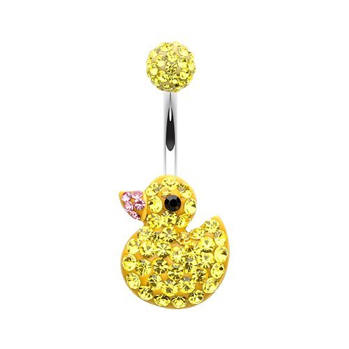 WildKlass Jewelry Cute Rubber Duck Multi-Sprinkle Dot 316L Surgical Steel Belly Button Ring