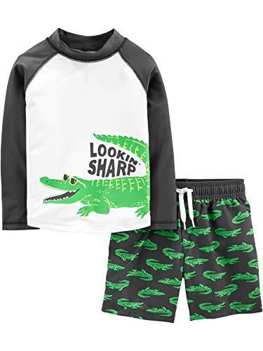 Simple Joys by Carter's - Costume da bagno per bambini e neonati, 2 pezzi ,Green Alligator ,5