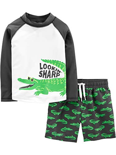 Simple Joys by Carter's Boys' Toddler 2-Piece Swimsuit Trunk and Rashguard, Green Alligator, 3T