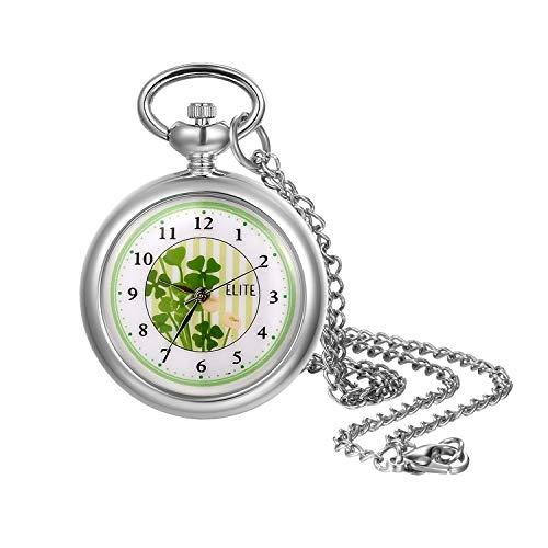 Lancardo Damen Taschenuhr Analog Quarz Uhren mit Halskette Kette Elegant Silber Pocket Watch