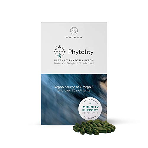 Phytality Ultana Phytoplankton 45 Veggie Capsules   Vegan Omega 3 EPA   Sustainable & Plant-Based   100% Vegan