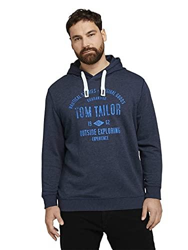 TOM TAILOR Men+ Herren 1023459 Plussize Hoodie Sweatshirt, 19024-Sky Captain Blue White Melangé, 3XL