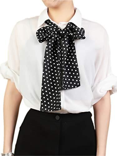 prettystern langer Schmal 2-lagig gepunktet Dots Schwarz Weiß 100% Seide Skinny Scarf Damen Krawatten-Schal