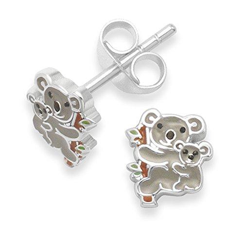 Argento 925/1000, a forma di Koala orecchini a perno smaltati per bambini. Taglia piccola, 7 mm x 6 mm 5937. in confezione regalo