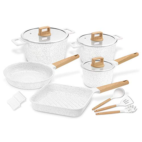 Ceramic Cookware Set Non-Stick Scratch Resistant 100% PFOA Free Induction Aluminum Pots and Pans Set with Cooking Utensil Pack -13 - White
