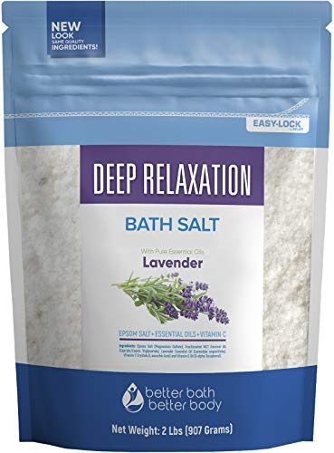 Deep Relaxation Bath Salt 32 Ounces Epsom Salt with Natural Lavender Essential Oil Plus Vitamin C in BPA Free Pouch with Easy Press-Lock Seal