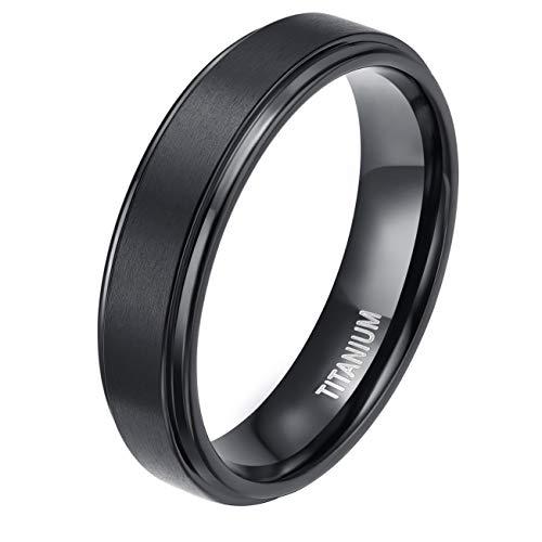 TIGRADE 4mm 6mm 8mm 10mm Black Titanium Rings Wedding Band Matte Comfort Fit for Men Women, Black, 6mm, Size 9
