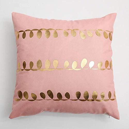MZW Golden Heart Pink Pillow Cover Soft Gold Foil Girls Room Home Decorative Cushion Cover For Sofa Bed 43x43cm Zip Open,A