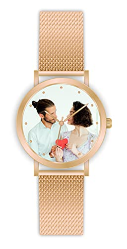 Memories - Reloj de pulsera personalizado con tu foto, color oro rosa, reloj para mujer para amigos y familia, fabricado en Alemania