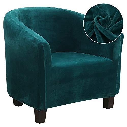 IVYSHION - Funda de sillón Chesterfield de terciopelo, funda de sofá extensible, funda de sillón convertible extraíble lavable, elástica, modelo Tullsta para decoración de salón o oficina, color verde