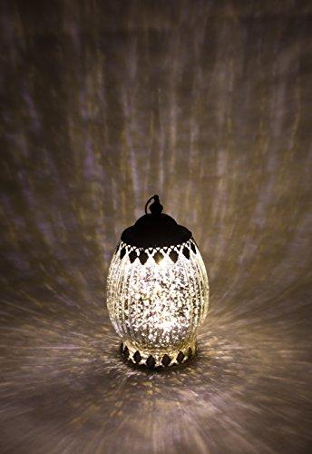 Home&Decorations Lanterne LED Décorative Argentée en Verre – Èclairage Vintage Forme Ovale pour Mariage, Anniversaire, Fête, Dîner
