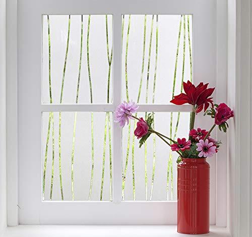 FINNEZ Fensterfolie Privatsphäre 3D Glasfolie, Elektrostatische Selbstklebende Fensteraufkleber, für Küche, Arbeitszimmer (Unregelmäßige Streifen) (90 X 200 cm)