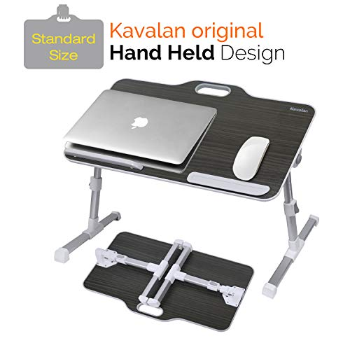 Kavalan Laptop Desk Bed Tray Table, Height & Angle Adjustable Sit and Stand Desk, Right & Left Handed Design Portable Laptop Table with Handle, Foldable Bed Desk for Laptop and Writing in Sofa Couch