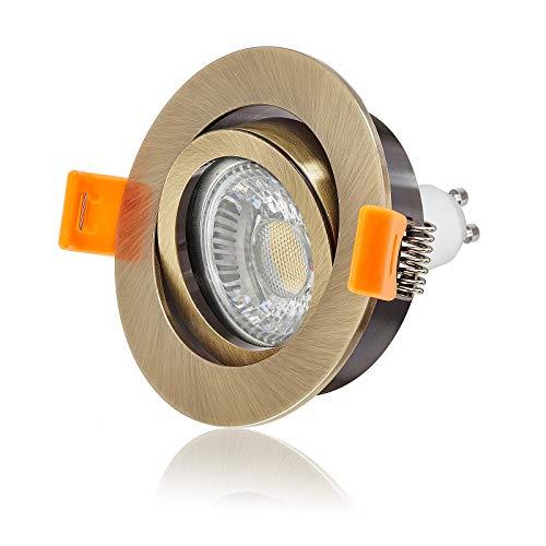 Ledox Led Einbaustrahler Set dimmbar & schwenkbar inkl. Einbaurahmen Forma Bronze Messing 230V 6W GU10 3000k warmweiß Decken-einbau-strahler-lampe-spot-leuchte-beleuchtung Ra>90 (5er Set)