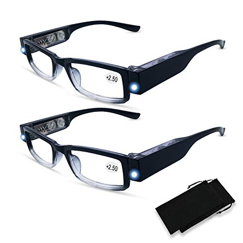 2 Pack Led Readers Reading Glasses with Lights in The Frame Eyeglasses with Lights and Magnifier Bright Lighted Reading Glasses for Men Women Lightweight Reading Glasses Eyeglasses