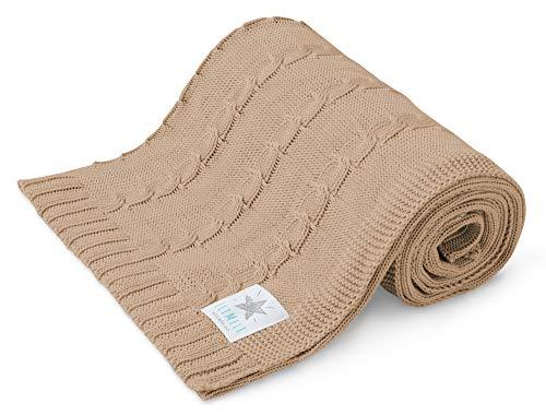 EliMeli BABYDECKE Kuscheldecke 100% Bambus - Leichte Baby Decke aus Bambusstoff für den Sommer und Frühling Bambusdecke Ideal als Sommerdecke Kinderwagedecke und Geschenk für Junge und Mädchen (Beige)