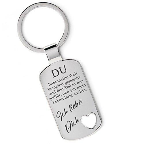 Lieblingsmensch Metall Schlüsselanhänger - Du hast Meine Welt komplett gemacht