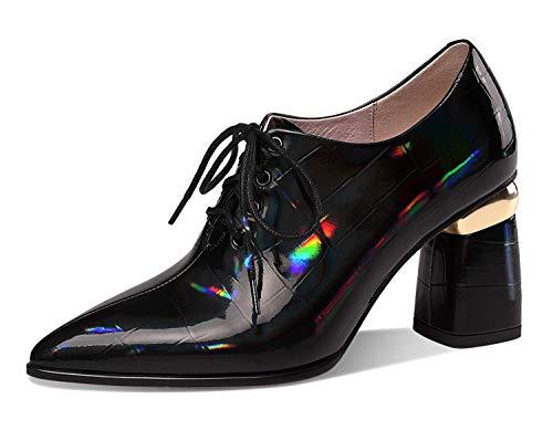 [CHICULL] チカル レディース ブーティー 牛革エナメル アンクルブーツ 編み上げブーツ 革靴 ハイヒール ショートブーツ 8cm 太ヒール レザー 本革 女性 カジュアル チャンキーヒール ブーティ シューズ 婦人靴 ブラック 24.5cm
