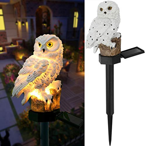 DSDecor Garden Solar Lights Outdoor Decorative Resin Owl Solar LED Lights with Stake for Garden Lawn Pathway Yard Decortions