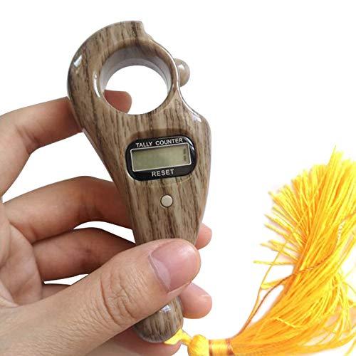 Yiran Digitaler Fingerzähler, Buddha-Perlen, elektronisches Display, Fingerzähler, Handzähler für buddhistisches Gebet, Dekompressionsspielzeug, nicht null, hellbraun, Free Size