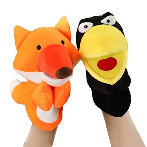 Marionetas de Peluche Mano de Animal marionetas del juego de 2 - Fox y cuervo con Open Movable Boca - Soft divertido marioneta de peluche juguetes de la muñeca for los niños pequeños for niños de Boys