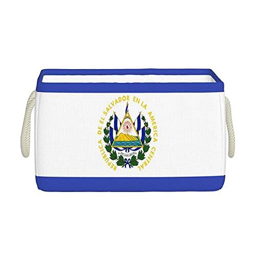 Aufbewahrungskörbe, El Salvador Flagge, Aufbewahrungskorb, faltbar, dekorative Körbe, Organisationsbox mit Handgriffen für Kleidung, Aufbewahrungsregal, Zuhause, Schrank, Schlafzimmer, 40 x 30 x 25 cm