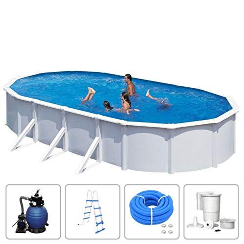 KWAD Schwimmbad mit Filterpumpe Stahlwandbecken Schwimmbecken Swimming Pool Familienpool Planschbecken Aufstellbecken Komplettset Oval 7,3x3,6x1,2m