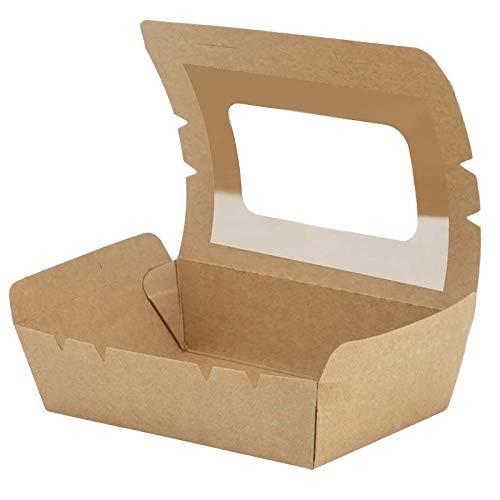 Lebensmittelbox mit Sichtfenster, Bio Speisebox mit Faltdeckel 500 ml, Einwegschachteln Kraftkarton Snackboxen, 100 Stück Auslaufsicher Anti-Fett Take Away Box für Verschiedene Lebensmittel, Salate