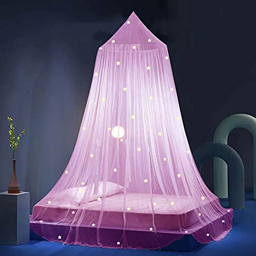 Stars Bed Canopy Glow in The Dark, Eimilaly Bed Canopy for Girls Mosquito Net, Princess Canopy for Girls Bed Room Decor, Encrypted Fabric, Pink