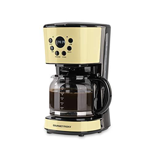 GOURMETmaxx Filterkaffeemaschine mit Glaskanne | Timerfunktion | Abschaltautomatik | Retro Design | Bildschirm | Inklusive Permanentfilter | Edelstahl/Glas | 900W | Vanille