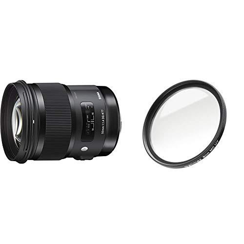 Sigma 50mm F1,4 DG HSM Art Objektiv (77mm Filtergewinde) für Canon Objektivbajonett & Walimex Pro UV-Filter Slim MC 77 mm (inkl. Schutzhülle)