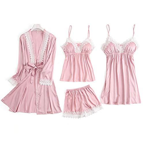 Primavera de 4 piezas Sexy Encaje Pijamas Conjunto de Mujeres de Imitación de Seda de Encaje de la Eslinga sin Mangas de la Camisa Cortos de Verano