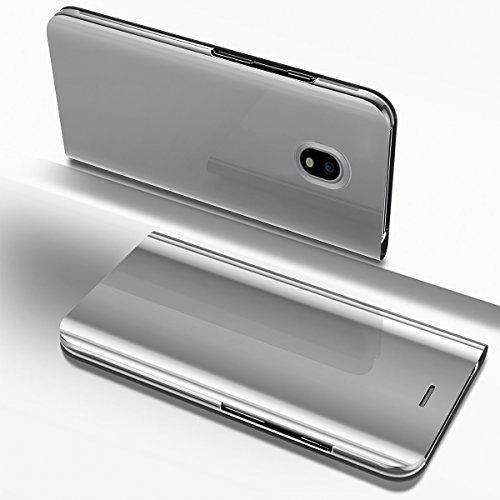 Ysimee Coque Samsung Galaxy J7 2017, Étui Folio à Rabat Clear View Case Couleur Unie Translucide Miroir Housse en PC Fonction Support Ultra Mince Flip Portefeuille Coque pour Galaxy J7 2017, Argent