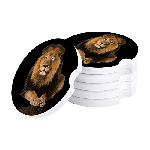 Cool Lion Car Coasters for Drinks, Animal Theme Absorbent Ceramic Stone Coaster with Holder Cup Mat Pad for Men/Women,Car Accessories Set of 6