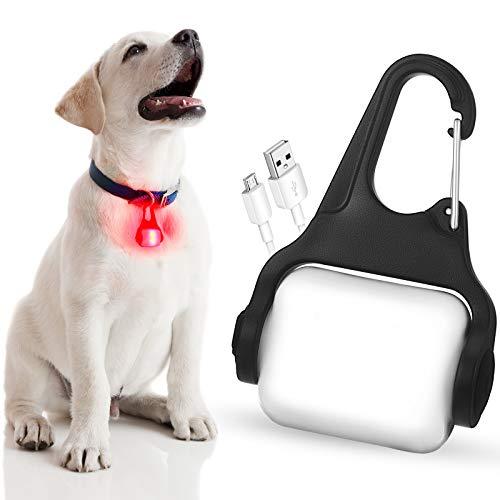 Luces LED de Collar Mascotas Clip de Luz LED de Collar Perros Luz de Placa de Identificación USB Recargable Luz Flash Impermeable de Mascotas de Seguridad con 3 Modos Paseos Nocturnos